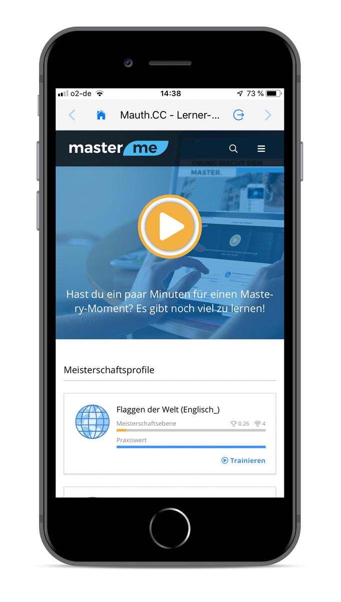 Iphone mit Master Me Startbildschirm